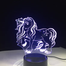 Load image into Gallery viewer, Color Changing Unicorn 3D LED Lamp