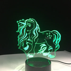Color Changing Unicorn 3D LED Lamp