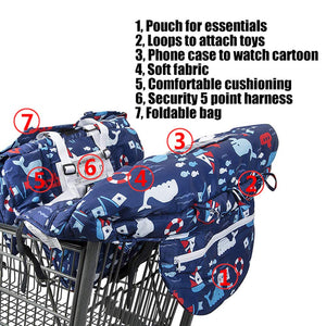 2-in-1 Foldable Baby Shopping Cart & High Chair Cover