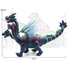 Load image into Gallery viewer, Walking Four-Headed Dinosaur-Dragon Toy with LED Projector