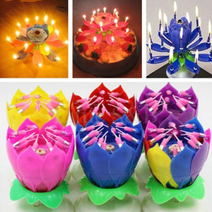 Rotating Lotus Birthday Candle