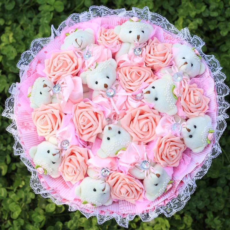 Rose Teddy Bear Bouquet