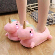 Load image into Gallery viewer, Glowing Unicorn Slippers