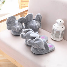 Load image into Gallery viewer, Peek-a-Boo Elephant Slippers