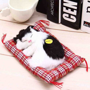Sleeping Cat Plush Toy with Sound