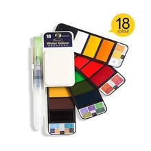 Load image into Gallery viewer, Portable Watercolor Paint Set with Brush