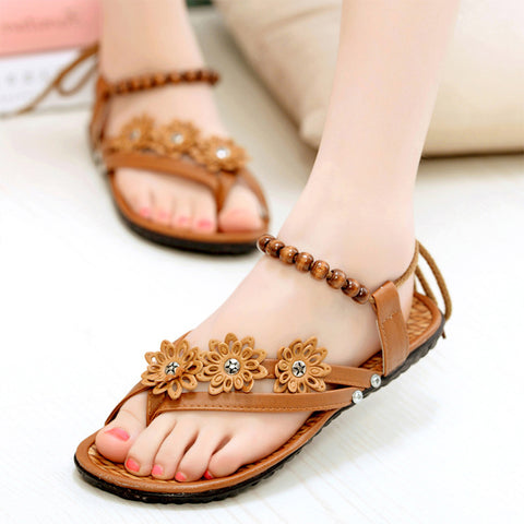 Women Flower Pattern Sandals Beach Flip Flops