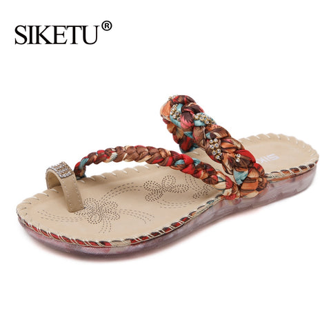 Bohemian Style Sandals Crystal Women Flip Flops Plus Size Cool Beach Sandls