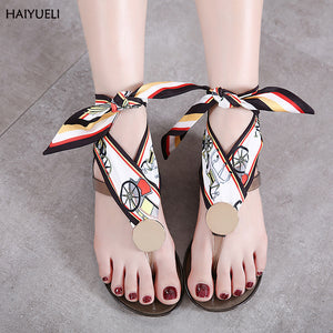 Jelly designer women Color Ribbon Bowknot slippers casual Transparent beach flat flip flops