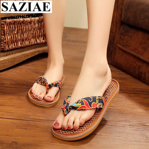 Candy Colors Women  Fashion Flax Breathable Retro Roman Style Women Flip Flops