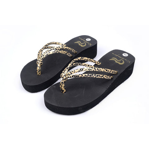 Leopard Platform Sandals Women Summer Fashion High Heel Beach SandalsFlip Flops