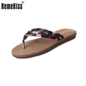 Women Flats Flower Sandals Flip Flops Beach Shoes