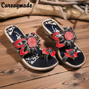 Summer soft bottom Leather Flip Flops comfortable folk style hand-painted color flowers anti-skid