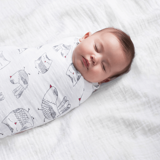 Couverture en coton Aden + anais. Blanche imprimée petite chouette noire et rose. 47″x47″. - Owl print cotton swaddle from Aden + anais. White with black and pink patterns. 47″x47″.