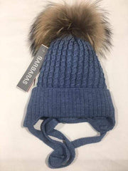 Barbaras Accessoires 2Y / Rose Tuque en laine denim avec fourrure Denim wool hat with fur