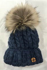 Barbaras Accessoires Tuque en laine denim avec fourrure Wool Denim hat with fur