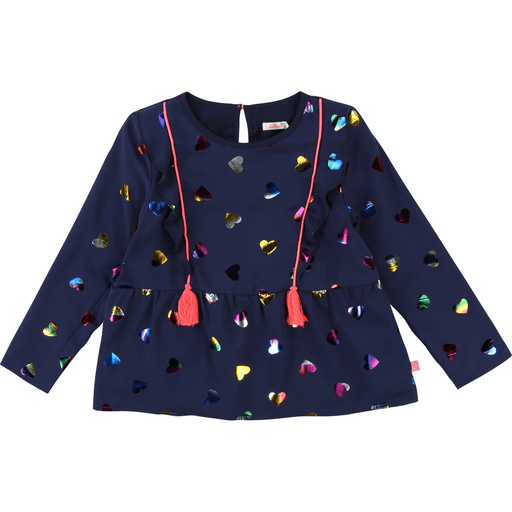 Billieblush Hauts 12Y / Bleu Blouse bleue aux coeurs multicolores Multicolored hearts top