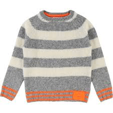 BillyBandit Pulls 2Y / Gris Pull gris et blanc rayé White and gray striped sweater