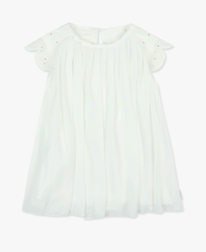 Boboli Robes 3Y / Blanc Robe à plis Pleated dress