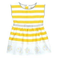 Boboli Robes 3Y / Blanc Robe banche à rayures jaune White dress with yellow stripped
