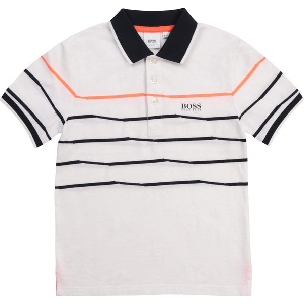Boutique Lollipop Polo blanc à rayures Striped white polo
