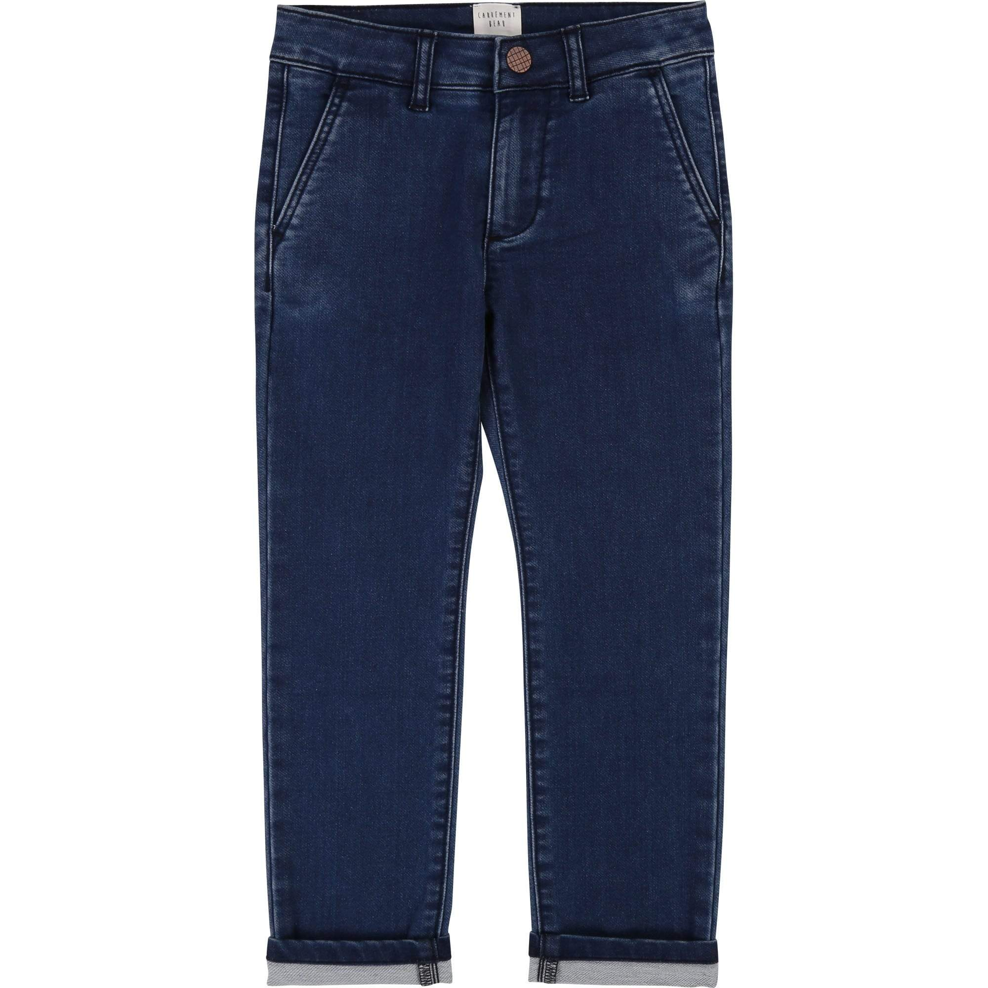 Carrément Beau Pantalons 4Y / Bleu Pantalon chino en denim maille stretch