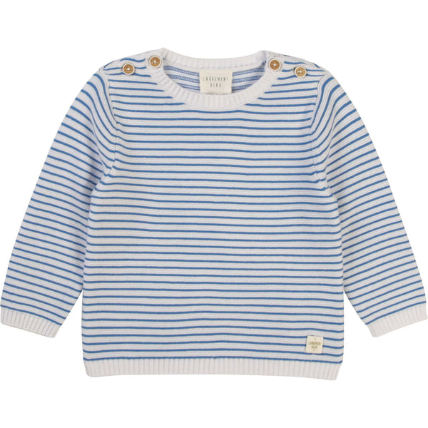 Carrément Beau Pulls Pull rayé bleu et blanc White and blue striped sweater