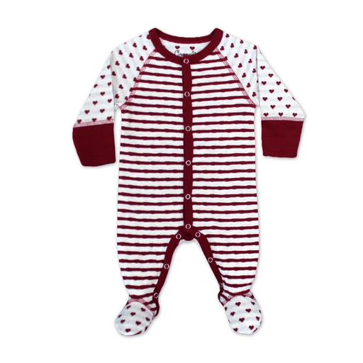 Coccoli Pyjamas 12M / Rose Pyjama à rayures canneberges et avoine Cranberries and oatmeal stripes pyjama