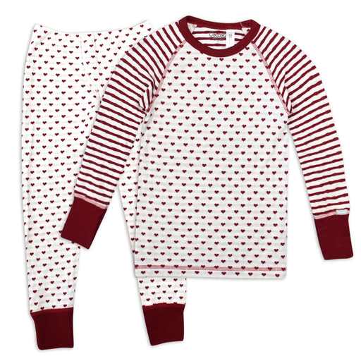 Coccoli Pyjamas 12Y / Rose Pyjama à rayures avoine et canneberge Oatmeal and cranberries striped pyjama