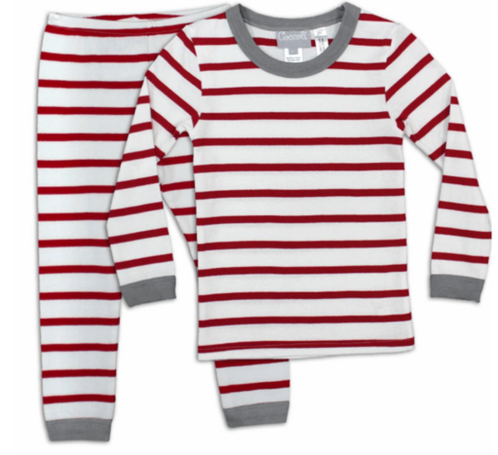 Coccoli Pyjamas 12Y / Rouge Pyjama à rayures rouge Red stripped pajamas
