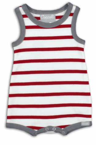 Coccoli Pyjamas 18M / Rouge Barboteuse à rayures rouge Romper with red stripped