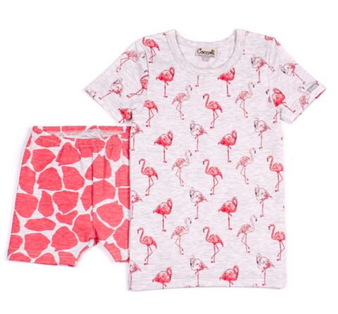 Coccoli Pyjamas Pyjama court imprimé flamant rose et girafe Short Pink giraffe and flamingo print pyjama