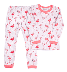 Coccoli Pyjamas Pyjama long rose imprimé flamant rose Long Pink flamingo print pyjama
