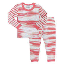Coccoli Pyjamas Pyjama orange et gris rayés - Grey and orange striped pyjama