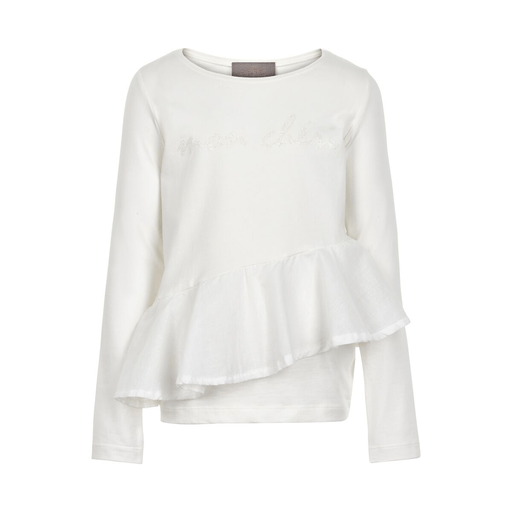 Creamie Chandails 14Y / Beige chandail volant manche longue  white long sleeved t-shirt