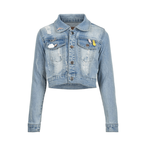 Creamie Manteaux 14Y / Bleu Veste de jeans courte Cropped denim jacket
