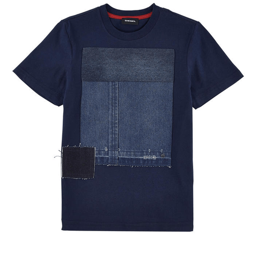 Diesel Chandails 16Y / Bleu tee-shirt bleu marine empiècement jeans blue t-shirt with material yoke jeans