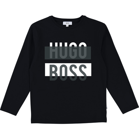Hugo Boss Chandails 16Y / Noir Chandail noir et blanc Black and white T-shirt