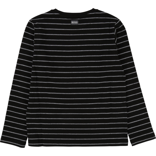 Hugo Boss Chandails 16Y / Noir Chandail noir rayé Black striped T-shirt