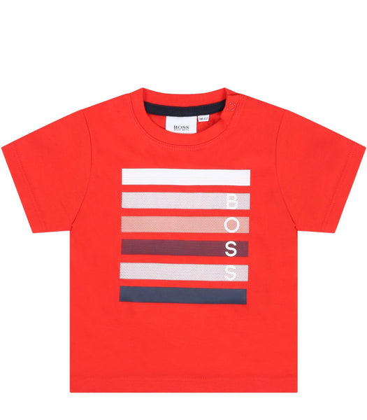 Hugo Boss Chandails Chandail rouge avec imprimé Red t-shirt with print