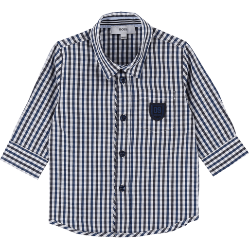Hugo Boss Chemises 3Y / Bleu Chemise vichy marine et blanche Blue and white vichy shirt