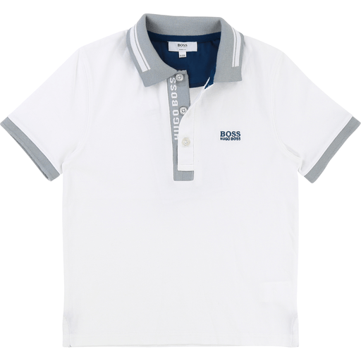 Hugo Boss Polos 16Y / Blanc Polo blanc avec détails gris  White polo with grey details