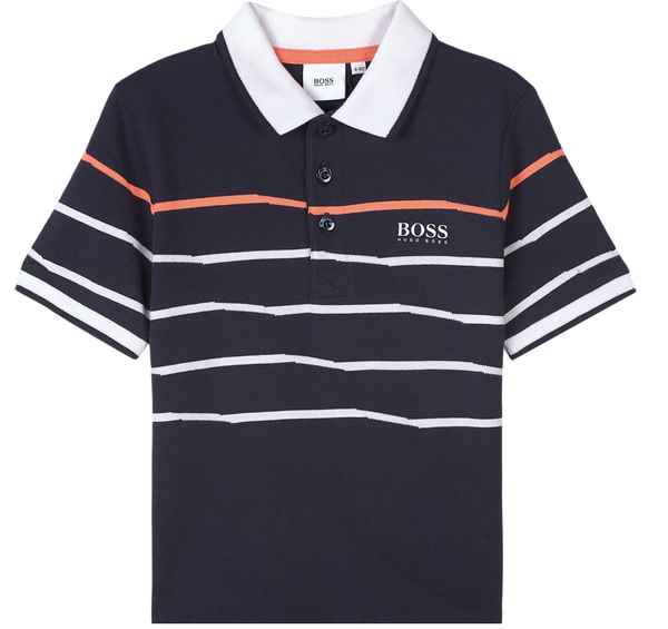 Hugo Boss Polos Polo bleu marin à rayures Striped navy blue polo