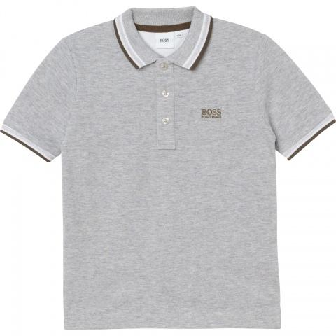 Hugo Boss Polos Polo gris chiné à rayures Heather grey polo with stripes