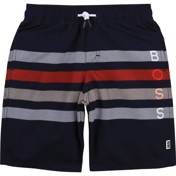 Hugo Boss Tenues de bain Short de bain bleu à rayures Striped blue swim shorts