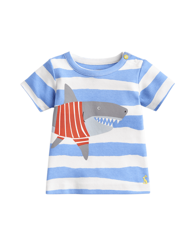 Joules Chandails 2Y / Bleu Tee-shirt rayé Blue stripe shark