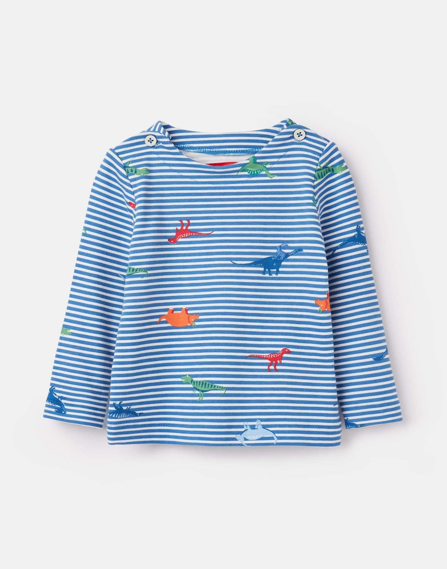 Joules Chandails Chandail bleu rayé avec dinosaures Striped blue shirt with dinosaurs