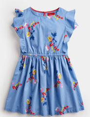 Joules Robes 6Y Robe fleurie bleu Blue floral dress