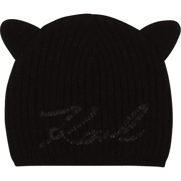 Karl Lagerfeld Accessoires Bonnet tricot chat Black hat knitted