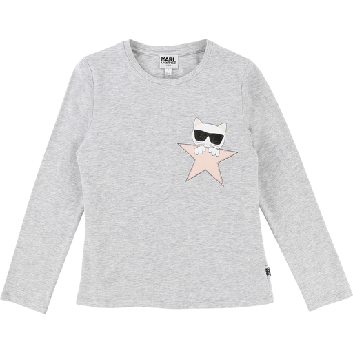 Karl Lagerfeld Chandails 14Y / Gris T-shirt gris pâle mini choupette Light grey mini choupette t-shirt